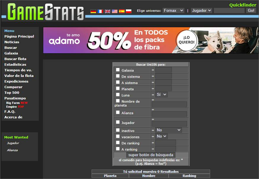 OGame Stats Galaxia